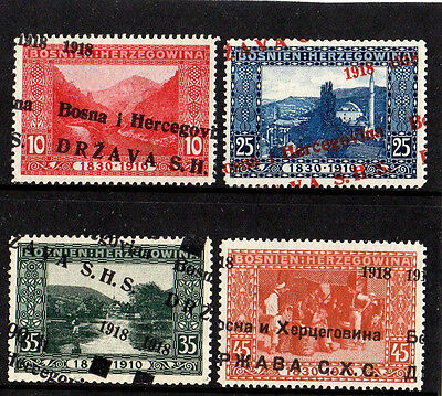 Bosnia Yugoslavia 1918 High Values With Major Shifted Overprint Superb Mint Rare