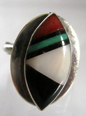 Silver Tone Turquoise And Coral Ring Approximate Size 4