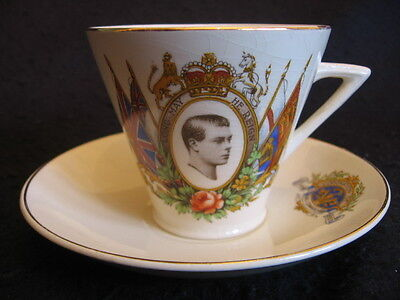 COMM' CUP & SAUCER DUO  CORONATION of EDWARD VIII 1937 EX