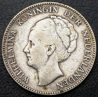 NETHERLANDS: 1931 1 Gulden .720 Silver Coin, KM# 161 - Free Combined S/H