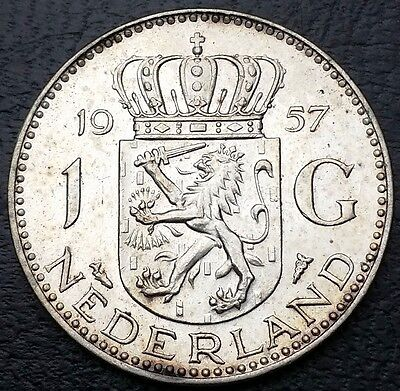 NETHERLANDS: 1957 1 Gulden .720 Silver Coin, KM# 184 - Free Combined S/H
