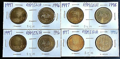 1996-1997 Collection Of 8 Armenia 100 Dram Coins -B13