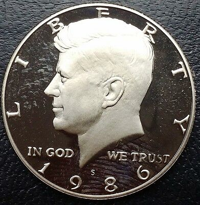 1986-S Kennedy GEM PROOF Half Dollar, 50 Cents, UNC - Free Combined S/H