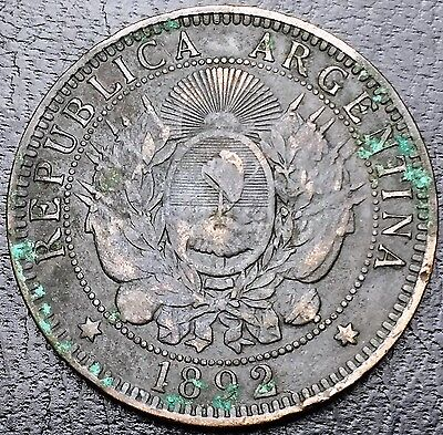 ARGENTINA: 1892 2 Dos Centavos Bronze Coin, KM #33 - Free Combined S/H