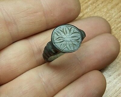 Old Antique bronze  Post-Medieval Ring with  Engraved    #2022