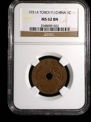 French Indo-China 1931 1 Cent *NGC MS-62* Vietnam Rare Torch Privy Mark Issue