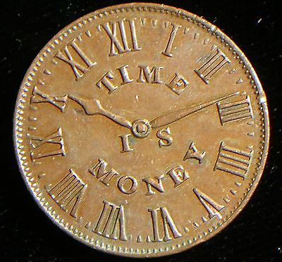 1837 Hard Times Store Token Smith's Clock Est New York Almost UNC Time is Money