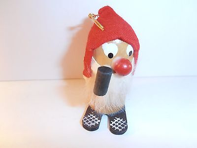 Vintage Pipe Smoking Gnome Elf Christmas Holiday Ornament Wood & Cloth Hat
