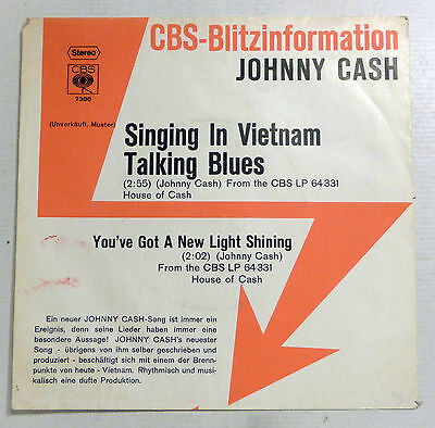"COVER ONLY - JOHNNY CASH - CBS Blitzinformation PS ""Singing In Vietnam"""