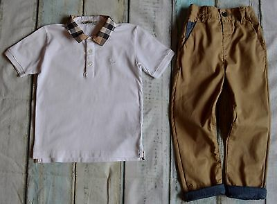 Boys Designer Clothes Burberry t-shirt & Next Chinos 3-4 Years Excellent!