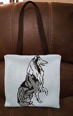 Custom Knitted Rough Collie Tote Purse Goody Bag