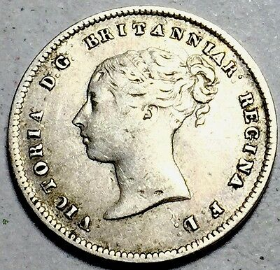 GB . QV . 1857 . Fourpence  . Maundy .  Nice Coin.