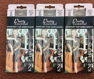 3 Pairs Vintage Pretty Essential Bamboo Comfort Top Knee Highs One Size BNWT