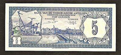 NETHERLANDS ANTILLES 5 gulden 1984 P15b UNC view of Curacao, monument