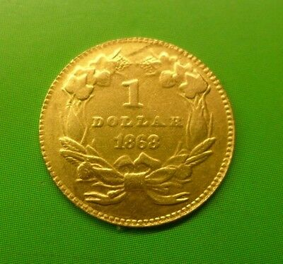 1868 $1 One - Large Indian Head Gold Dollars