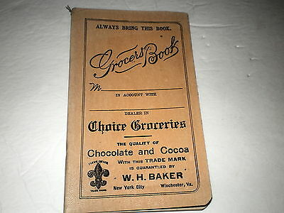 Antique Grocers Book /adv. W.h. Baker Chocolate & Cocoa