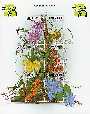 Sierra Leone flowers mini sheet  UM (MNH)