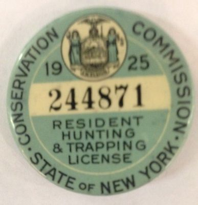 1925 New York Hunting And Trapping License