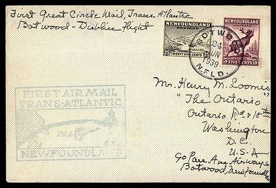 Canada Botwood Newfoundland to Dublin ireland 1939 First flight cover