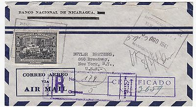 Drink Nicaragua Coffee 1941 Slogan on Registered Cover to US