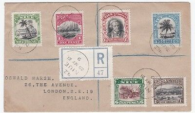 Niue Pictorial Issues To 1 Shilling On 1921 Registered Cover To England