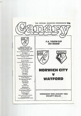 F A Youth Cup 4th Round Norwich City v Watford 1983 EXCELLENT