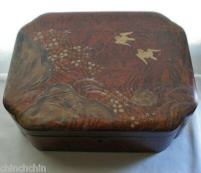 IMPRESSIVE Museum Quality JAPANESE Lacquer Wood BOX Intensely EXQUISITE HP Birds