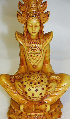 ORIENTAL STATUE BUDDHA GODDESS TARRA OR QUAN YIN TALL ASIAN ORIENTAL signed RB