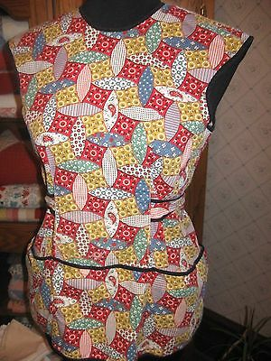 Vintage Retro Cotton Kitchen Smock Apron-Red Blue Yellow Floral Print-3 Pockets!