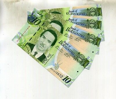 2007 10 Pula Botswana 5 Consecutively Numbered Currency Notes 7232D