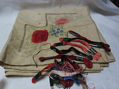 Vintage Linen  Embroidery Tablecloth & Cottons To Complete - Rose Floral Design
