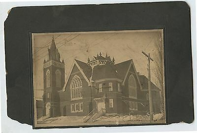 Antique Cabinet Photo Large Church in Winter