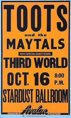 TOOTS and the MAYTALS Third World 80's STARDUST BALLROOM Reggae Concert Poster
