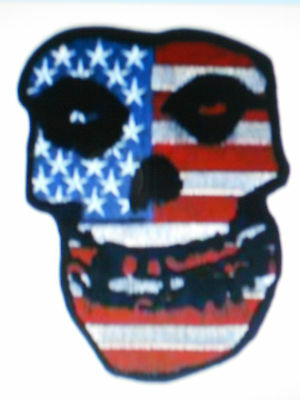 "Misfits Usa Flag Red White And Blue Fill Skull Logo Patch 3"" Tall New"
