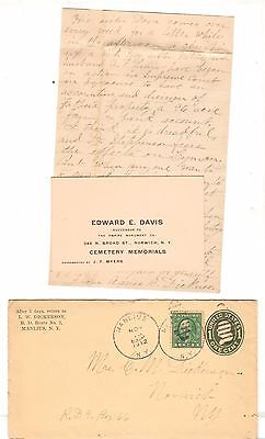 1912 Postmarked Envelope Letter LW Dickerson Manilus NY Cemetery memorials