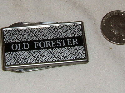 VINTAGE WHISKY WHISKEY - OLD FORESTER SILVERTONE MONEY CLIP KNIFE & FILE- (a)