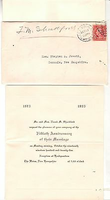 1925 Postmarked Envelope Invitation Fiftieth Anniversary Marriage Laconia NH