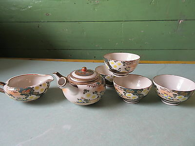 Antique Japanese Satsuma 6 Piece Porcelain Tea Set