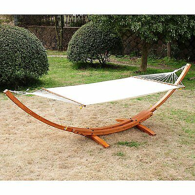 "157.5"" 2-Person Swing Hammock w/ Stand Patio Garden Bed FSC Certified Larch Wood"