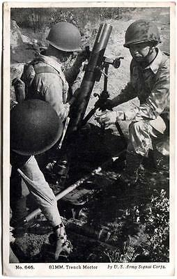 WWII RPPC Photo 81MM Trench Mortar US Army Signal Corps W.R. Thompson Co. #646