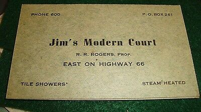 old- calling card, route 66, jims` modern court. gallup n.m. mileage, opens up