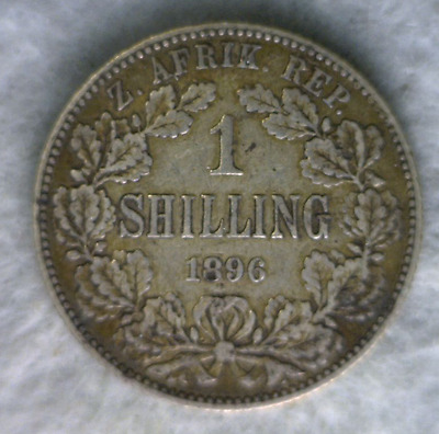 SOUTH AFRICA 1 SHILLING 1896 VF SILVER BRITISH COIN (Stock# 0122)