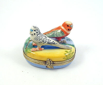 New French Limoges Trinket Box Budgie Budgerigar Parrot Parakeets In Tropics