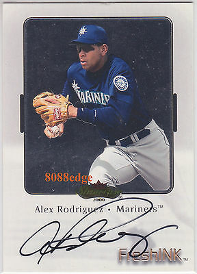 2000 Fleer Showcase Fresh Ink Auto: Alex Rodriguez - On Card Autograph Mariners
