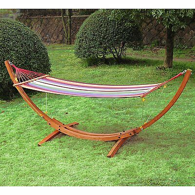 Outsunny 10ft Swing Hammock w/ Hardwood Stand Frame Garden Bed Patio Outdoor