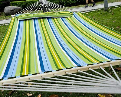 "Outsunny 83"" Large Hammock Bed Striped Fits 2 People Sun Bed Camping w/ Pillow"