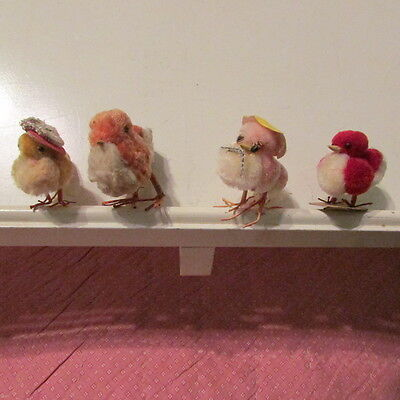4 Vintage Easter Decorations Chenille Chicks with Fancy Hats Wire Legs
