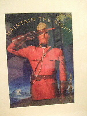 Canadian Mountie Rcmp  Nwmp Officer  Saluting  Arnold Frigerg Dry Mount Print