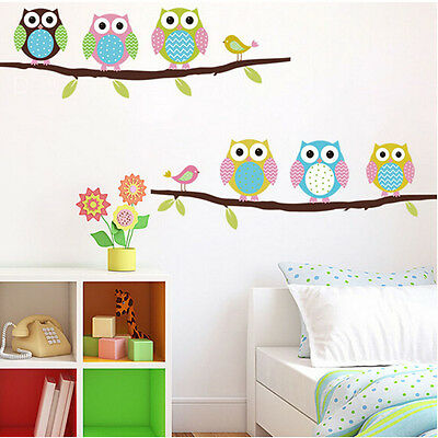 Washable Tree Owl Wall Decals Kids Bedroom Baby Nursery Stickers Art Room Decor