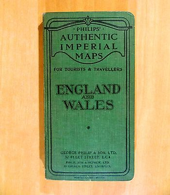 ENGLAND & WALES PHILIPS' AUTHENTIC IMPERIAL MAP Tourist Travellers Linen backed